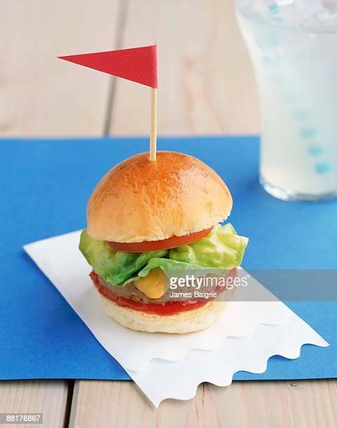 Mini hamburger with flag toothpick