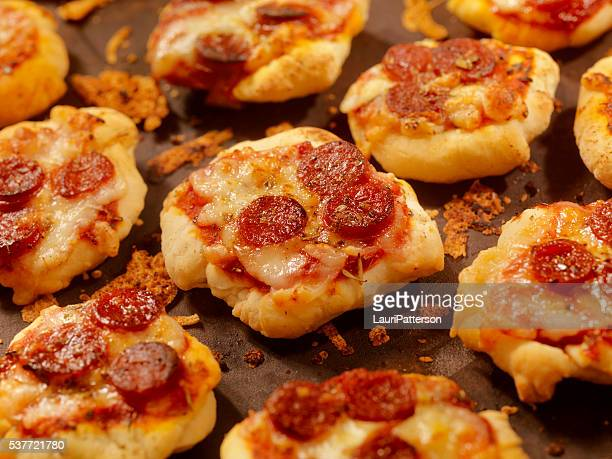 mini homemade pepperoni pizza bites - cornish pasty stock pictures, royalty-free photos & images