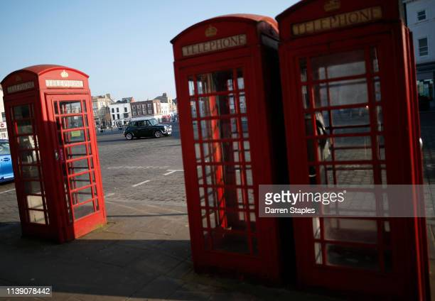 Mini is driven past telephone boxes on March 29 2019 in Boston England The town of Boston in Lincolnshire voted with a 75% majority to leave the...
