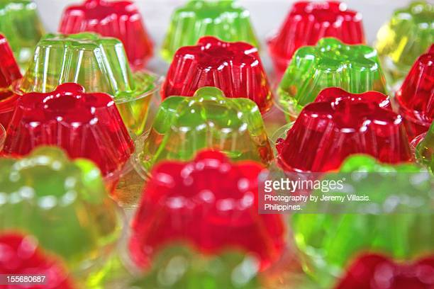 mini jelly dessert - gelatin dessert stock photos and pictures