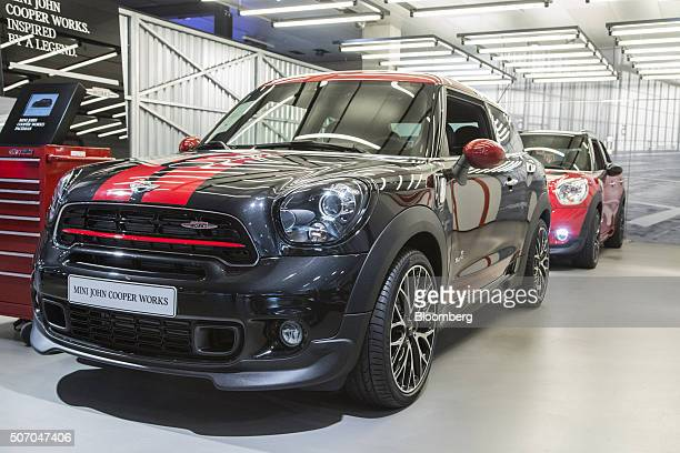A Mini John Cooper Works Paceman automobile produced by Bayerische Motoren Werke AG sits on display inside the BMW World showroom in Munich Germany...