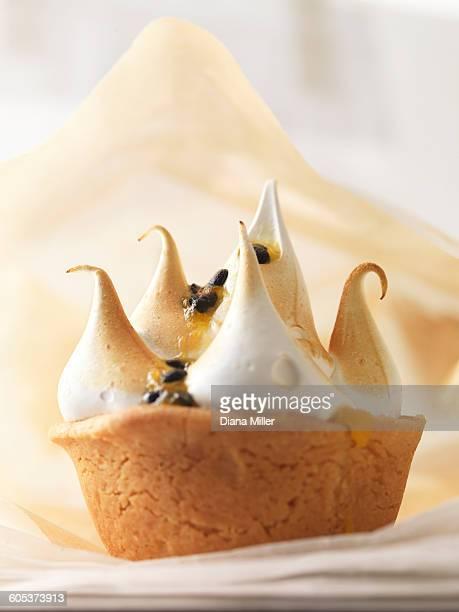 Mini meringue cake pastry with passion fruit