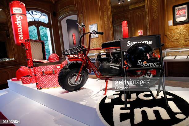 Mini Moto CT200U entitled 'Ride Or Die' by Coleman x Supreme is displayed during the exhibition 'The Rise of Supreme / 30 years of American urban...
