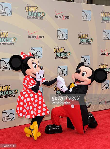 """Mini Mouse and Mickey Mouse attend the premiere of """"Camp Rock 2: The Final Jam"""" at Alice Tully Hall, Lincoln Center on August 18, 2010 in New York..."""