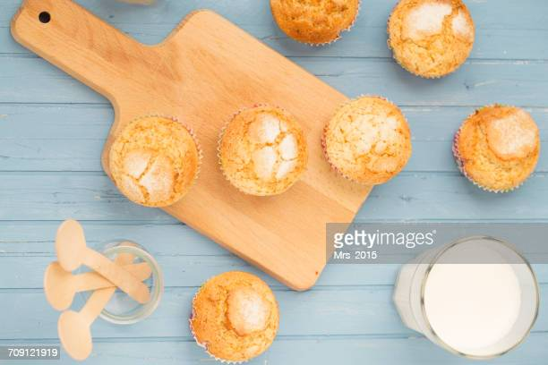 Mini muffins with glass of milk