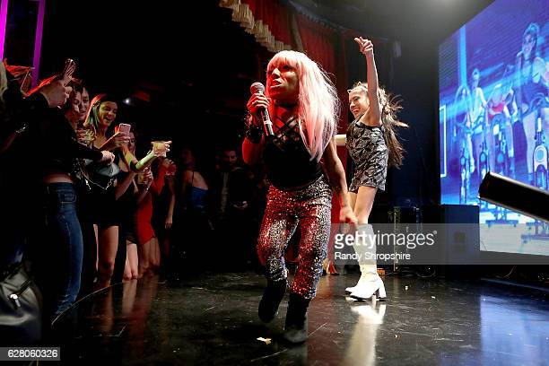 Mini Nicki Minaj and Mini Ariana Grande perform during Jeff Beachers Madhouse Preview at Roosevelt Hotel on December 5 2016 in Hollywood California