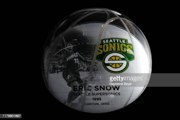 A mini plaque recognizes Eric Snow as a Michigan State University alumni who made it to the NBA and is displayed in the Tom Izzo 'Basketball Hall Of...