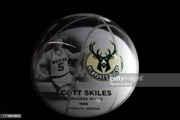 A mini plaque recognizes Scott Skiles as a Michigan State University alumni who made it to the NBA and is displayed in the Tom Izzo 'Basketball Hall...