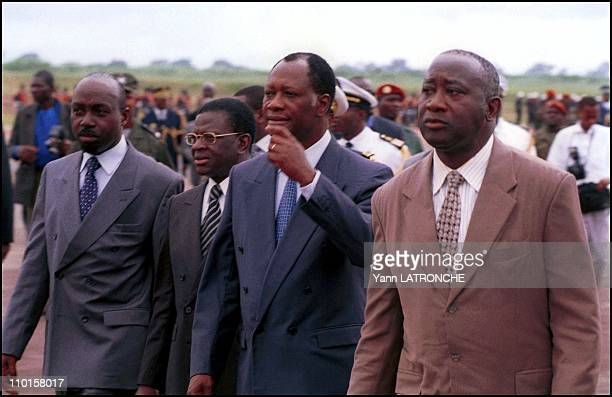 Mini Sommet Eyadema Kerekou Guei in Yamoussoukro Cote d'Ivoire on August 10 2000 Francis Wodie Laurent DonaFologo Alassane D Ouattara and Laurent...
