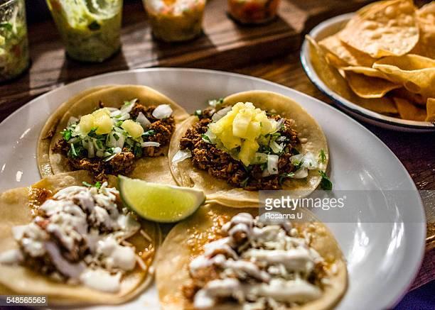 Mini tacos on plate