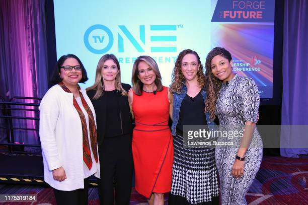 Mini Timmaraju Rosie O'Meara Carol Silva Sharon Zyman and Lori Hall speak onstage at WICT Leadership Conference And Touchstones Luncheon at The New...