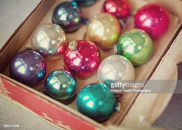 Mini vintage ornaments in box