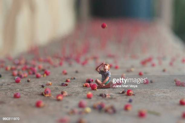 a miniature boy watches giant seeds fall from a plant - small stock pictures, royalty-free photos & images
