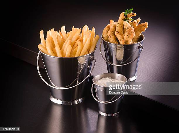 miniature buckets of chips and scampi