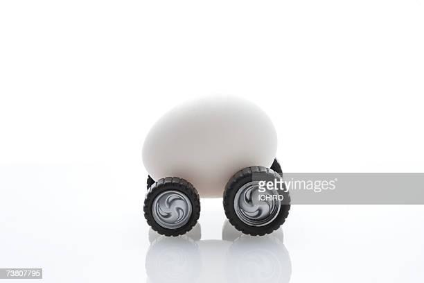 Miniature car made of egg