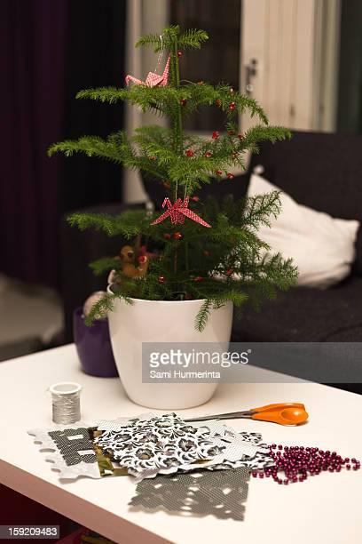Miniature Christmas tree on a table