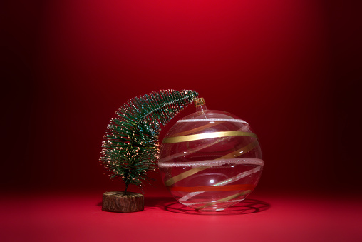 Miniature Christmas tree with Christmas decoration - gettyimageskorea