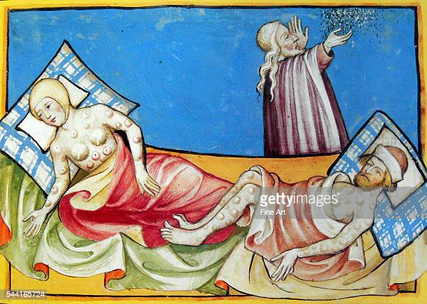 Miniature depicting a couple suffering from the blisters of the Black Death the bubonic plague that swept Europe in the Middle Ages From the Swiss...