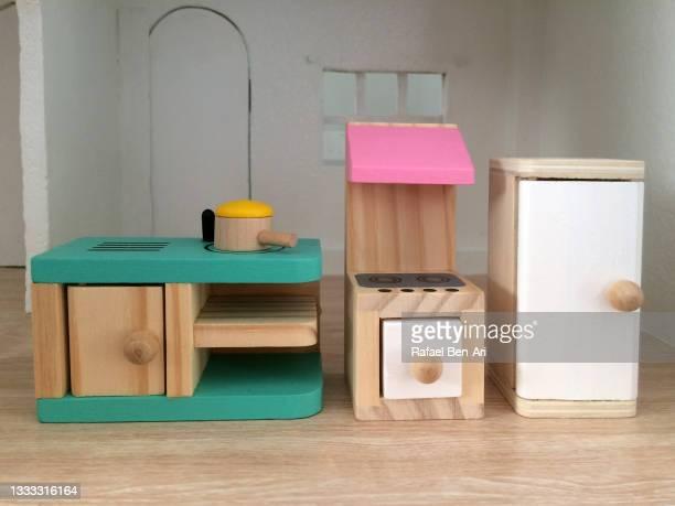 miniature dollhouse kitchen - rafael ben ari stock pictures, royalty-free photos & images