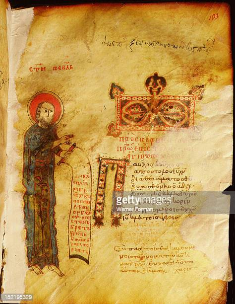 A miniature from an illuminated manuscript showing St Paul holding a scroll Codex 149 folio 103 Byzantine 11th century