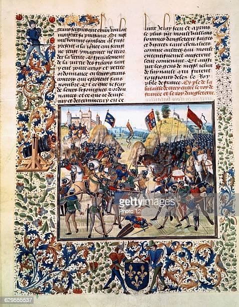 Miniature from Froissart's Chronicle Battle of Crecy 24 August 1346 14701475Manuscript written by Jean Froissart folio 165vParis Bibliotheque...