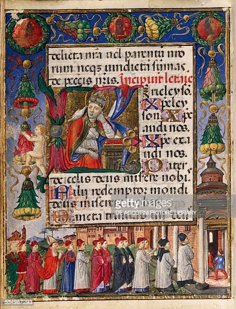 Miniature from the Borromeo Book of Hours 15th century by Cristoforo de Predis Latin manuscript Copyright Veneranda Biblioteca Ambrosiana Milan...