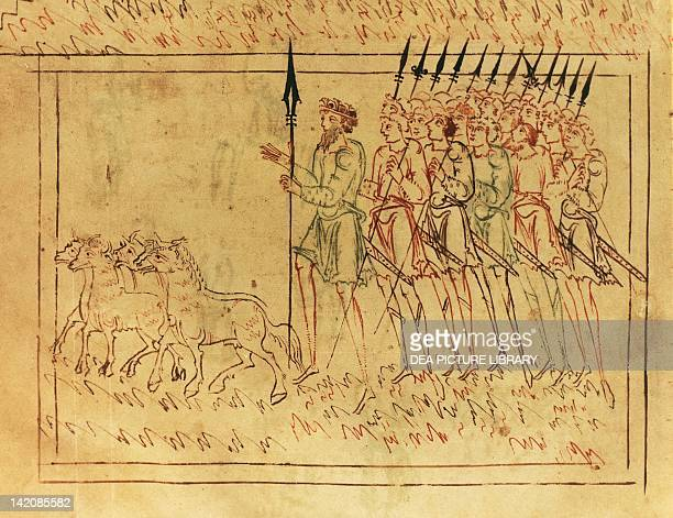 Miniature from the Junius manuscript or Collection of Anglo Saxon Poetry by Caedmon manuscript Great Britain 10th Century