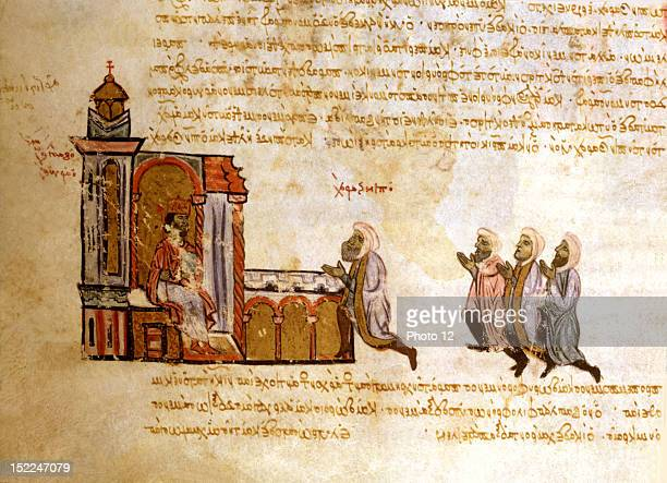 Miniature from the 'Skylitzes chronicle' Emir Ben Zarah at the audience of the Roman Emperor 13th century Byzantium Madrid National Library