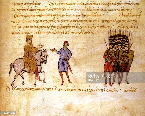 Miniature from the 'Skylitzes Chronicle' The Byzantine army defeating Czar Krun's Bulgarians who have besieged Constantinople after the defeat of...
