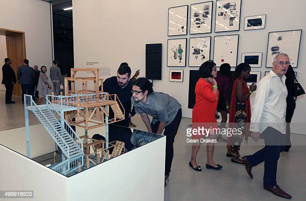 Miniature gallows by Sam Durant on exhibit at Perez Art Museum Miami during Art Basel Miami Beach in Miami Florida on Thursday December 3 2015