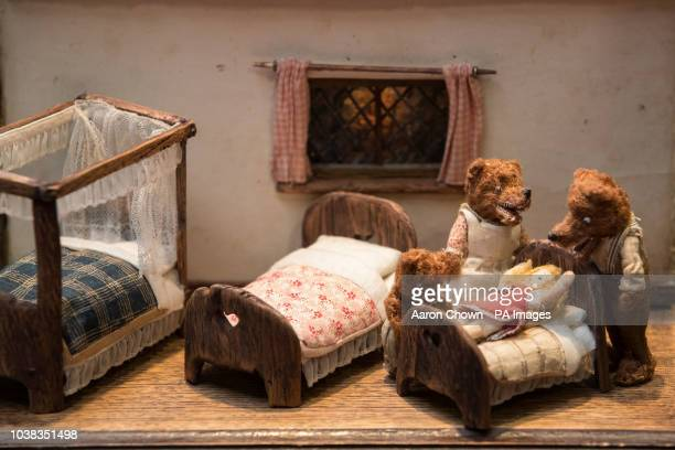 A miniature Goldilocks and the Three Bears set on display at the Miniatura Dolls' House and Miniatures show at the National Exhibition Centre in...