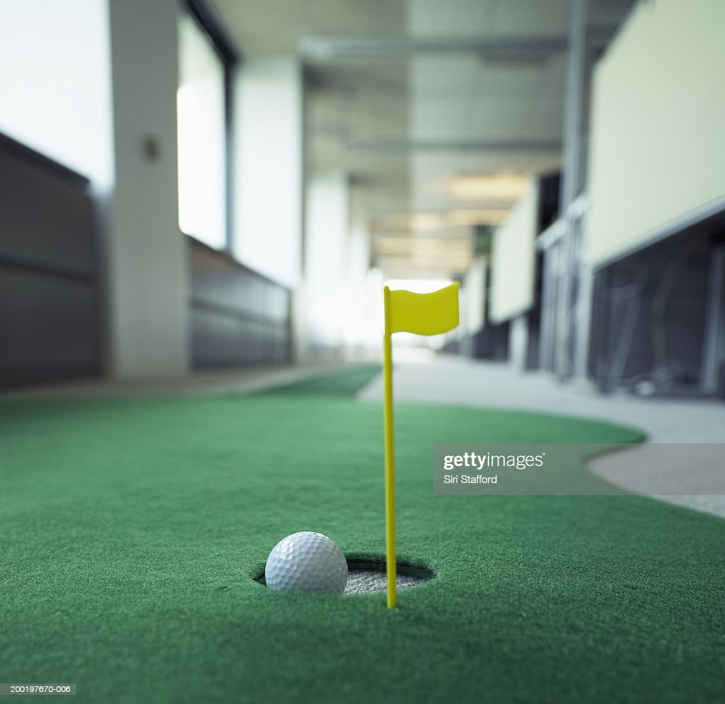 Office Pictures For Walls Golf: Miniature Golf In Office Focus On Hole Stock Photo