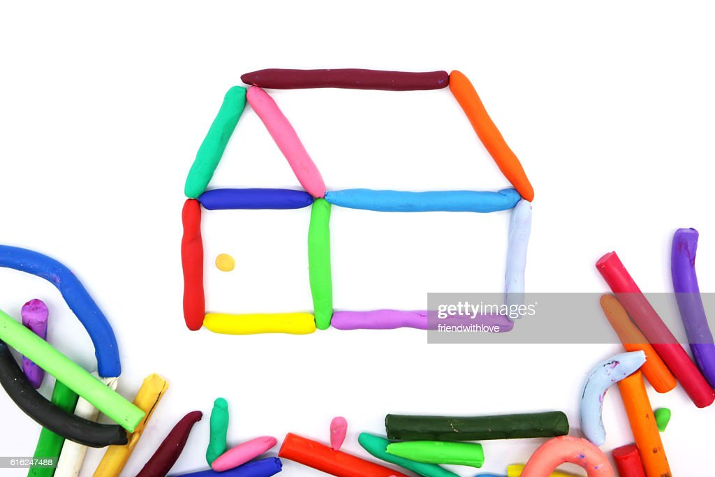 Miniature home handmade with modeling clay of colorful : Stock Photo
