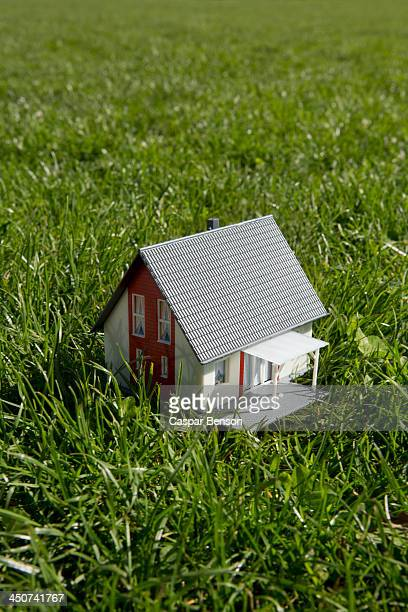 A miniature house on a lawn