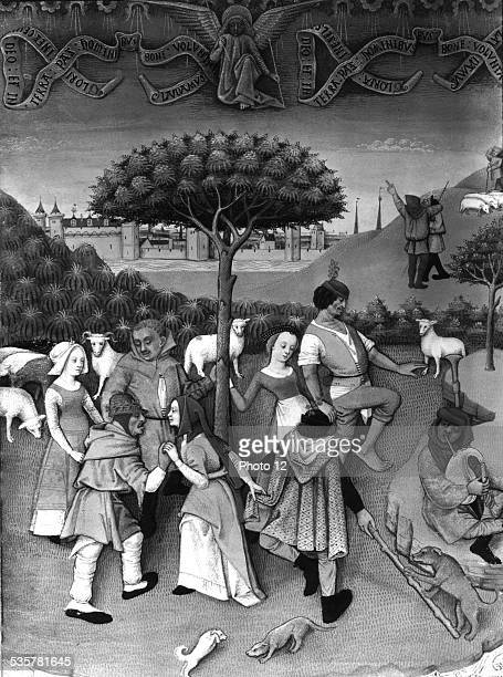 Miniature in 'Hours of Charles of Angoulême' country celebration Late 15th France