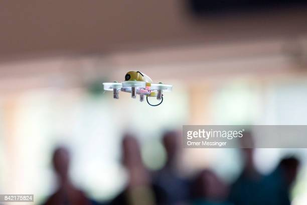 A miniature INDUCTRIX FPV quadcopter racing drone is seen on flight at the Dronemasters 2017 convention on September 3 2017 in Berlin Germany The...