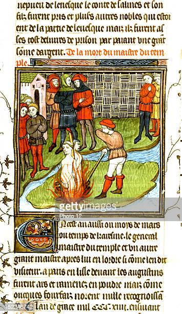 Miniature Jacques de Molay 'grand master' of the Templars was burned alive on March 19 15th century France London British library