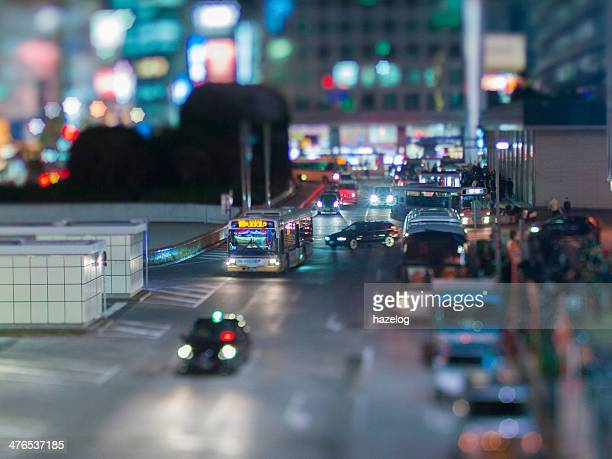 Miniature Landscapes of bus terminal at night
