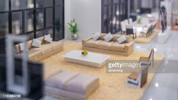 miniature living room model display - dollhouse stock pictures, royalty-free photos & images
