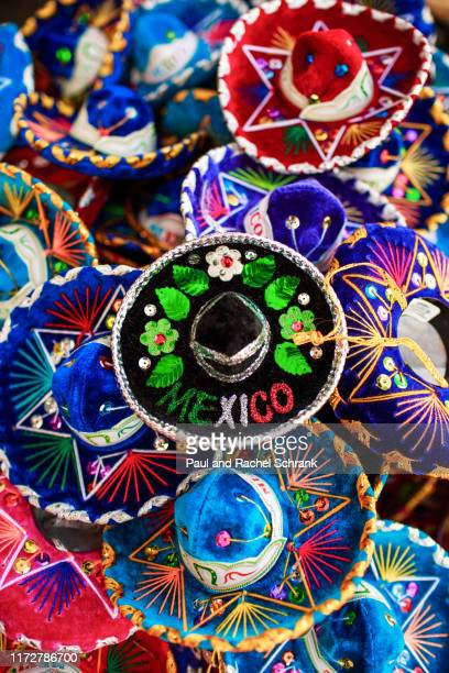 miniature mexican sombreros - playa del carmen stock pictures, royalty-free photos & images
