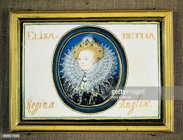 Miniature of Elizabeth I Queen of England and Ireland 16th century Also known as 'The Virgin Queen' as she never married and 'Good Queen Bess'...