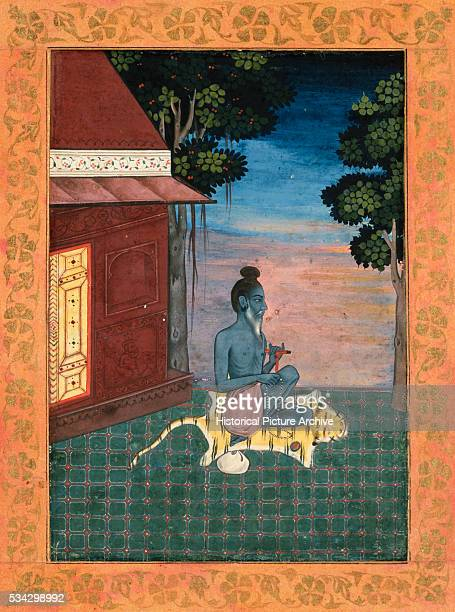 Miniature Painting Depicting an Ascetic Seated on a Tiger Skin