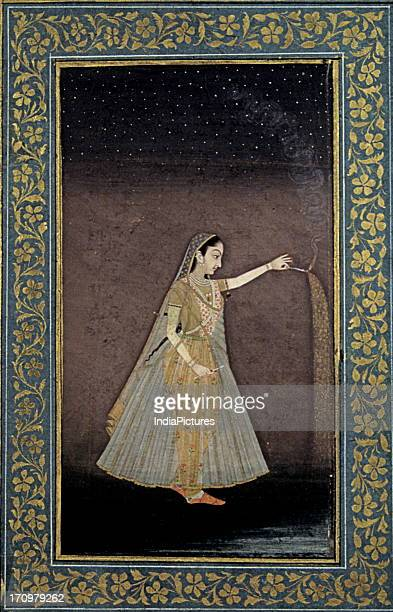Miniature painting of a Mughal lady with fireworks National Museum New Delhi India