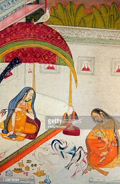 Miniature painting of a women playing with pet pigeons Rajasthan 18th century National Museum New Delhi India