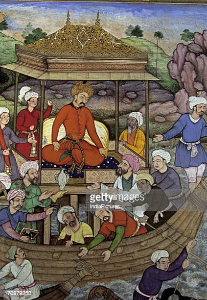 Miniature painting of Babur crossing the Son river Baburnama National Museum New Delhi India
