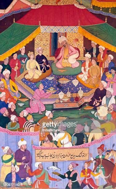 Miniature painting of Babur feasting Baburnama National Museum New Delhi