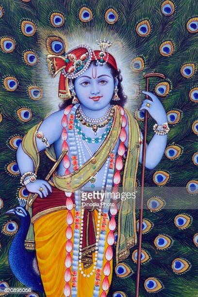 Miniature painting of Bal Krishna, India, Asia