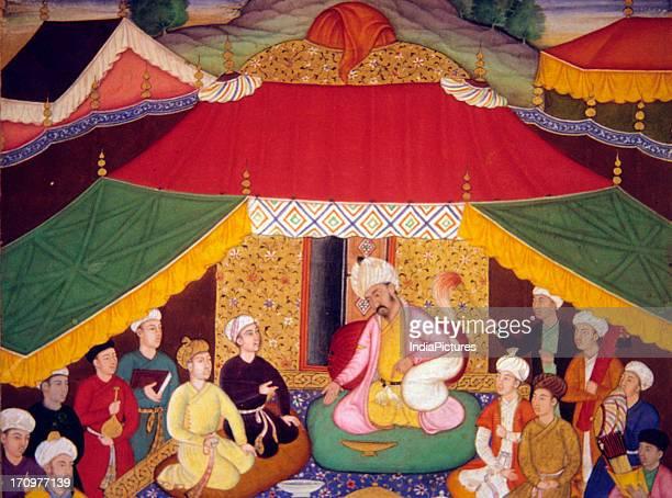 Miniature painting of Camp scene Baburnama National Museum New Delhi India