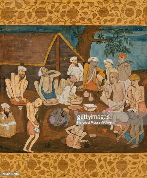 Miniature Painting of Fakirs Preparing Bhang and Ganja