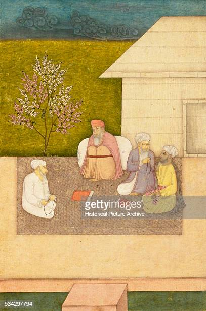 Miniature Painting of Four Muslim Holy Men Seated in Meditation Outside Hut